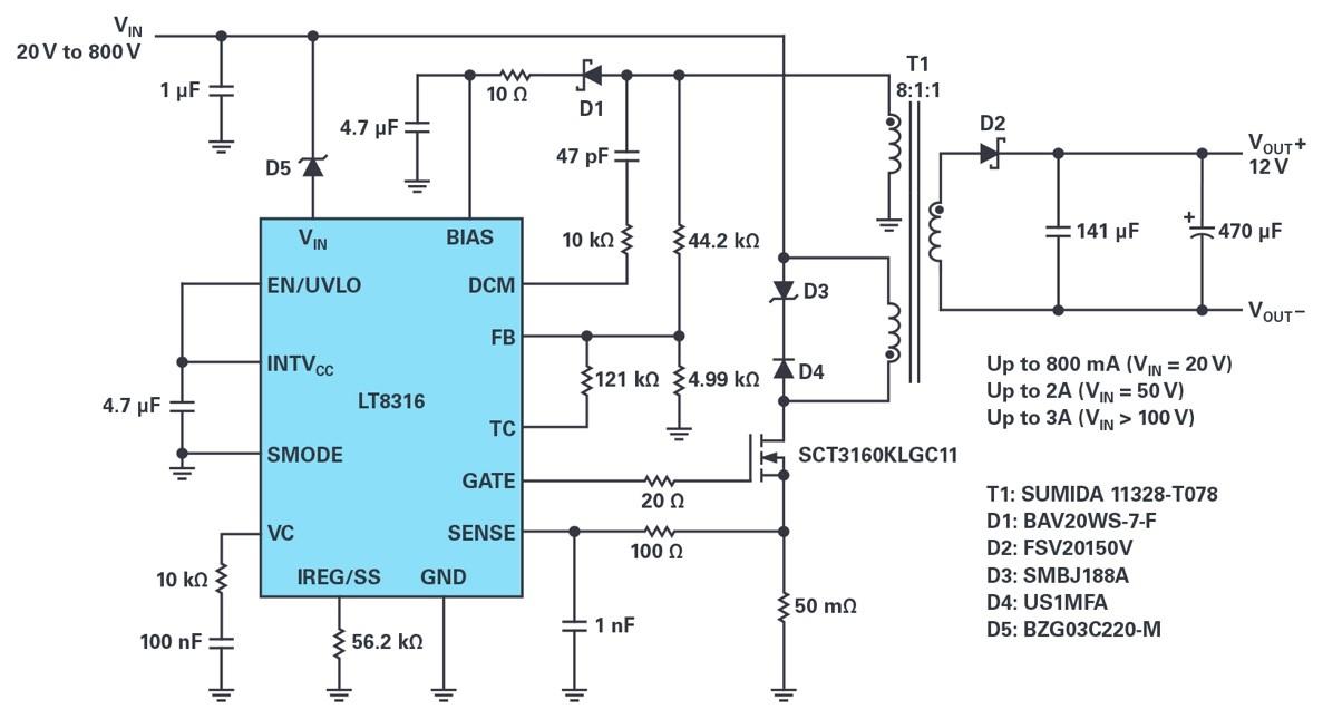 将600 V输入、非光耦合器隔离反激式控制器的电源电压扩展至800 V或更高
