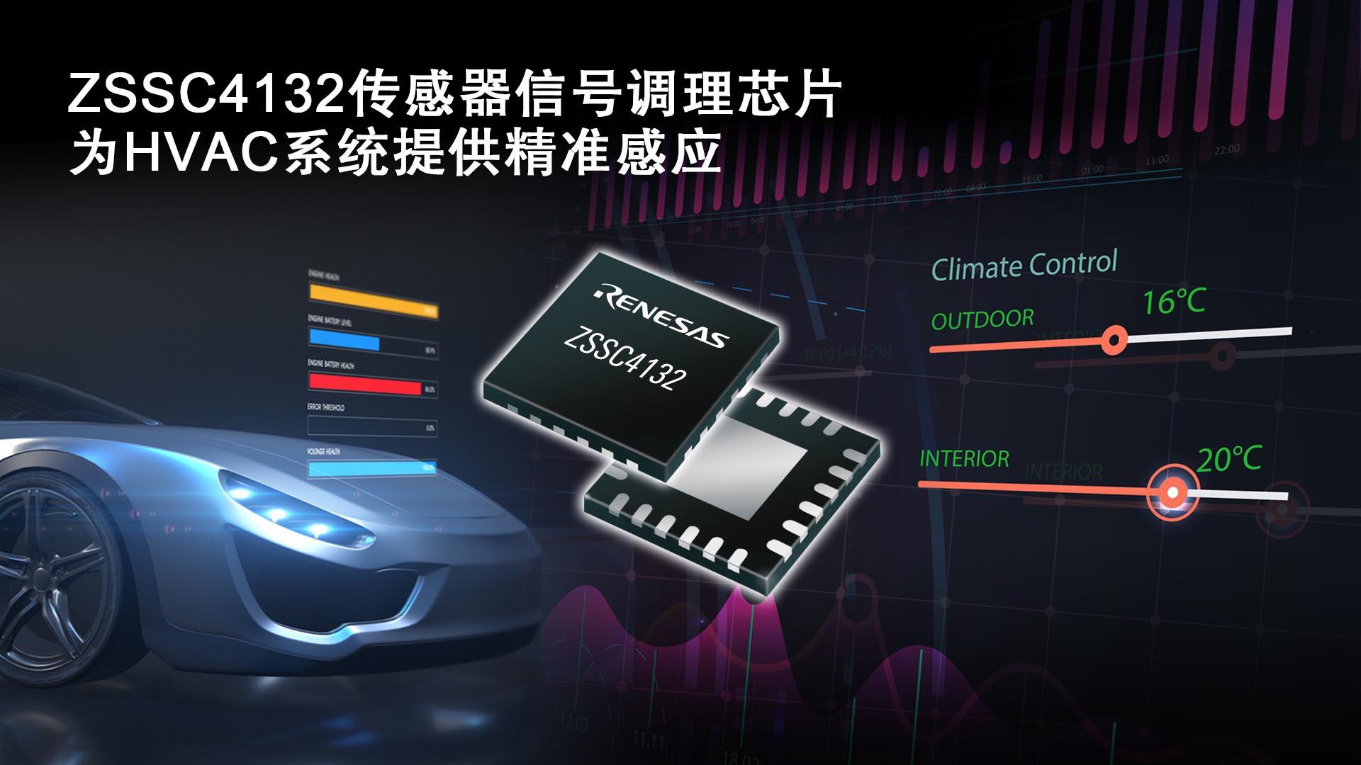 瑞萨电子推出集成LIN输出接口的传感器信号调理芯片 适用于电动/混动汽车HVAC系统