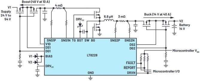 新型IC简化48 V/12 V双电池汽车系统的设计