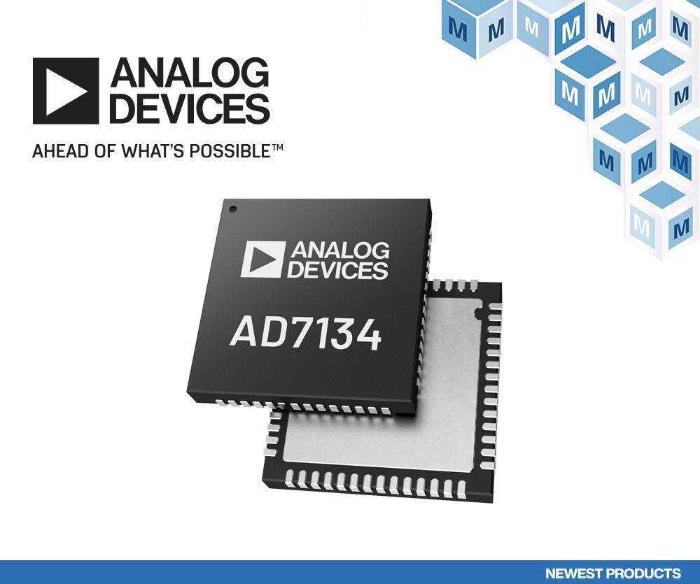 Analog Devices AD7134精密无混叠ADC在贸泽开售 为高性能测试和测量提供支持