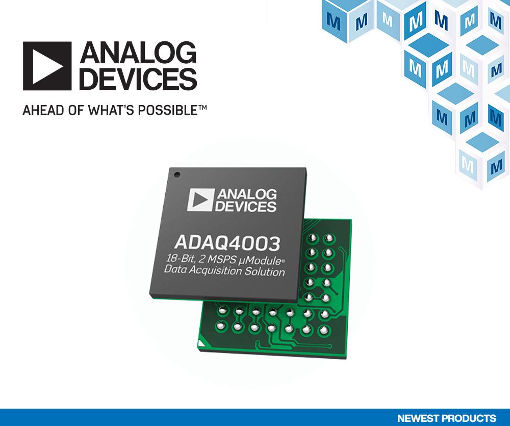 贸泽备货Analog Devices ADAQ4003数据采集解决方案  可节省多达75%的电路板空间