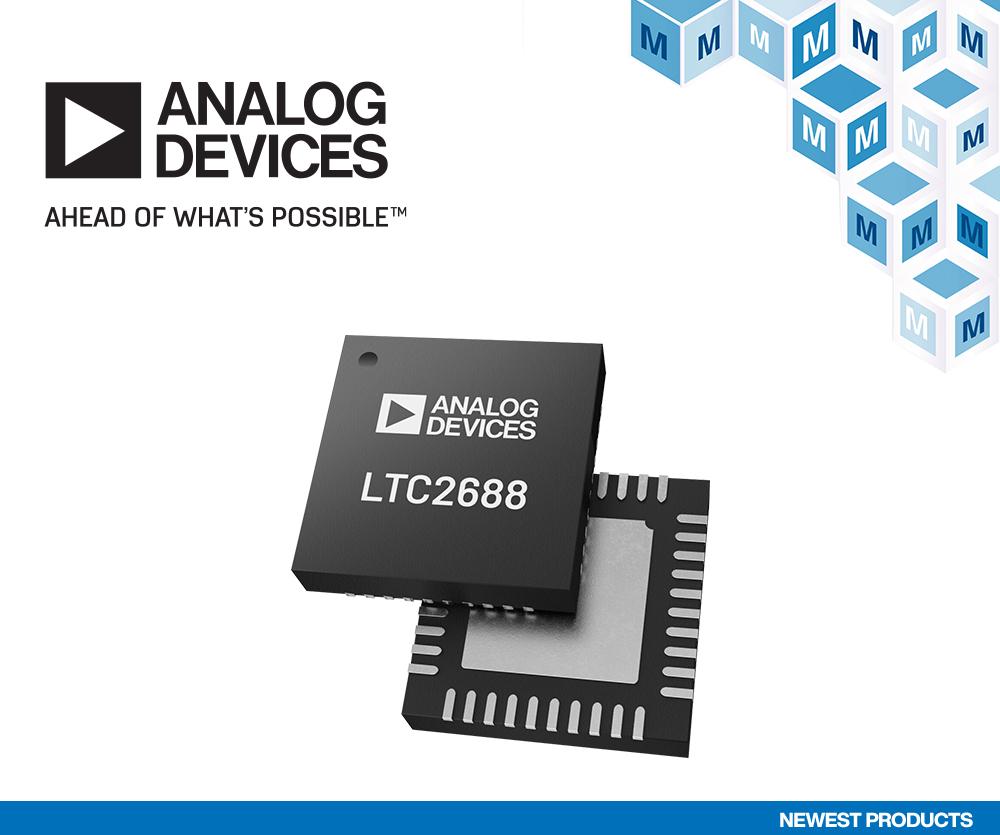 贸泽备货Analog Devices LTC2688 16通道DAC<br>助力光纤网络和自动化应用